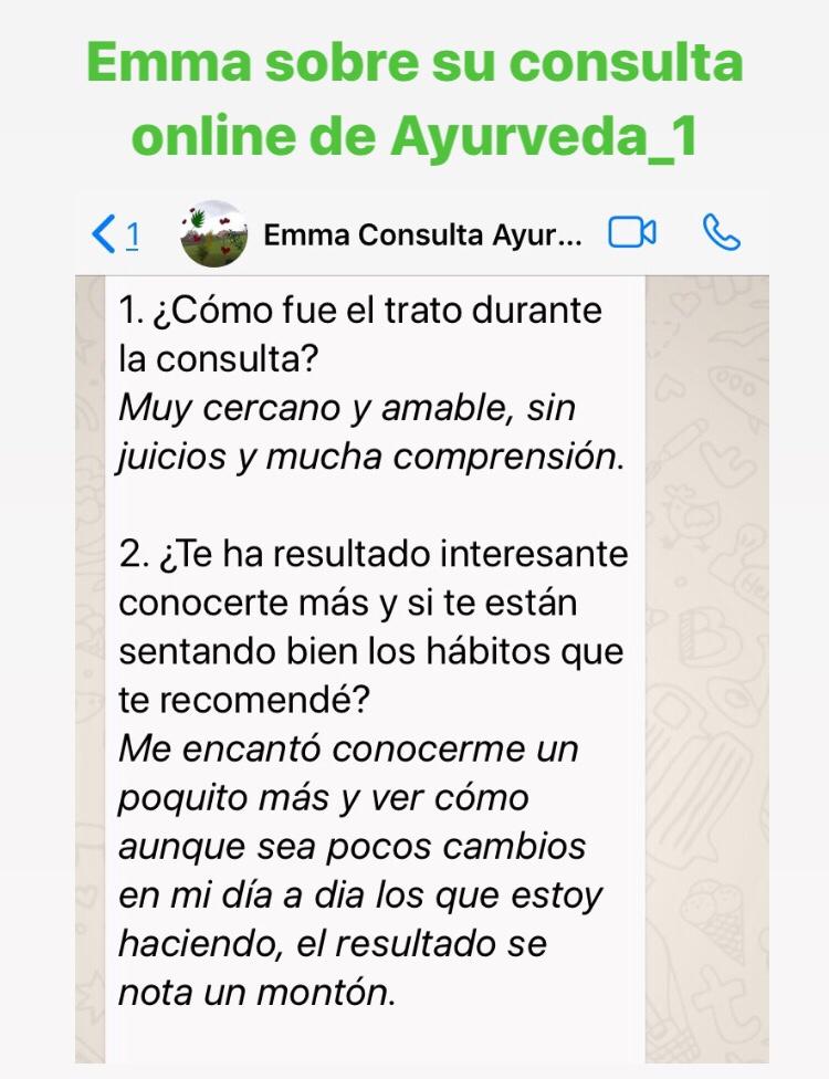 recomendaciones consultas ayurveda online
